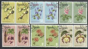 UGANDA SCOTT# 124-129 **CTO** FLOWERS 1969 HORZ. PAIRS  SEE SCAN
