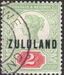 ZULULAND-1888-93 2d Grey-Green & Carmine Sg 3 slightly faded GOOD USED V50112