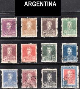Argentina Scott 323-31, 333-35 F to VF used.