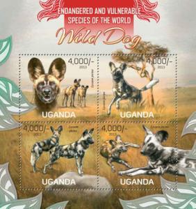 Uganda - Wild Dogs - 4 Stamp Sheet - 21D-071