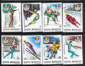 Romania #3713-3720   92 Winter Olympics set complete (U) CV $2.00