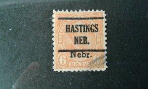 US #675 used precancel Hastings, NEB e203 7947