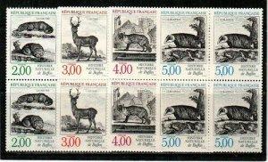 France Scott 2123-6 Mint NH blocks (Catalog Value $25.80)
