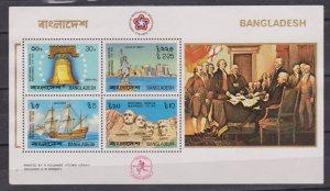 BANGLADESH - 1976 AMERICAN REVOLUTION BICENTENNIAL MINIATURE SHEET MNH