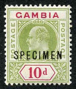Gambia SG80s 10d Colour Change Opt SPECIMEN Fresh M/Mint