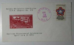 Malden MA Philatelic Expo 1973 APS stamp club bicentennial Cachet Cover  Sc#618