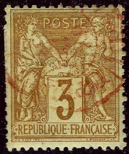 France #89 Used w/beautiful Red Cancel F-VF hr SCV$42.50/Retail $22.50