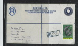 ST LUCIA COVER (P1604B) QEII 30C RLE+ COINS 40C REG COVER TO ENGLAND