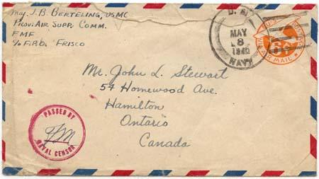 USA to Canada Censored Navy Cover - 6c Postal Stat. HS U.S./Navy/MAY 8/1945