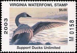 VIRGINIA #16 2003 M PREFIX STATE DUCK WHISTLING SWAN by Jim Wilson