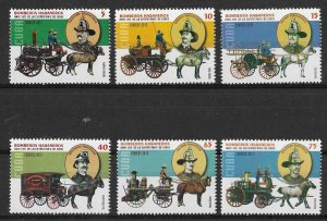 Cuba MNH Set Of 6 Horse Pulled Fire Engines 2015