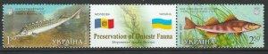 Ukraine 2007 Fauna Fish Joint Issue with Moldova 2 MNH stamps