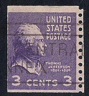 842 3 Cent LOGO CANCEL Thomas Jefferson Coil Stamp Used F HipStamp