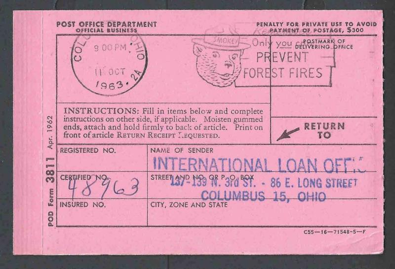 1963 u s post office dept official business card form 3811 receipt 1963 u s post office dept official business card form 3811 receipt pink colourmoves