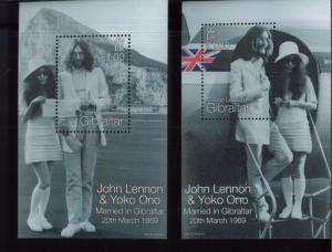 JOHN LENNON & YOKO ONO Married Mini Sheets x2 Gibraltar #805 -06 MNH - E6