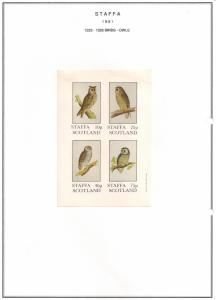 SCOTLAND - STAFFA - 1981 - Birds, Owls - Imperf 4v Sheet - MLH