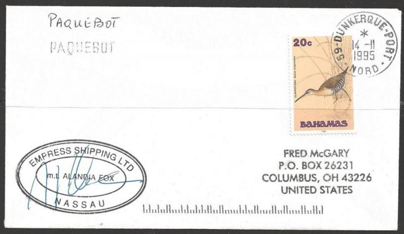 1995 Paquebot cover - Bahamas stamp mailed in Dunkerque, France