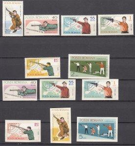 J27584 1965 romania set mh + imperf set #1748-53 sports