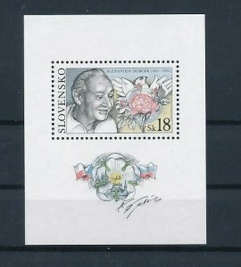 D151343 Slovakia S/S MNH Famous People Bird Flower Alexander Dubcek