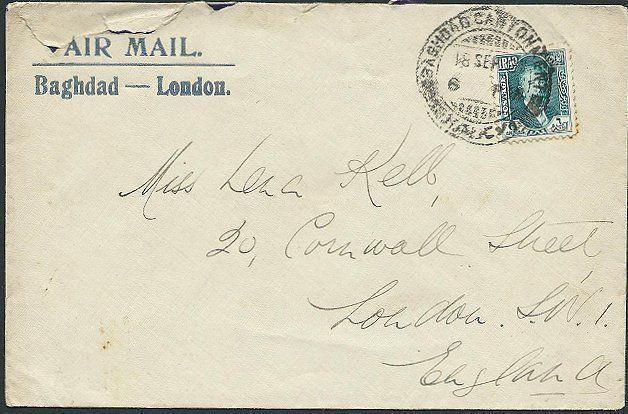 IRAQ 1931 airmail cover to UK : Baghdad Cantonment cds.....................41135