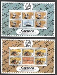 GRENADA, 926-929, MNH, SHEET OF 5 PLUS LABEL, AFRICAN MAIL RUNNER
