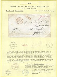 Montreal Ocean S.S.1859 Fergus CW to GB / Colonial Packet marking/Paid 121/2 .