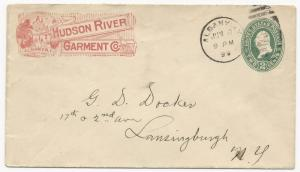 US Scott #U352 ADV Cover Hudson River Garment Albany, NY June 8, 1899