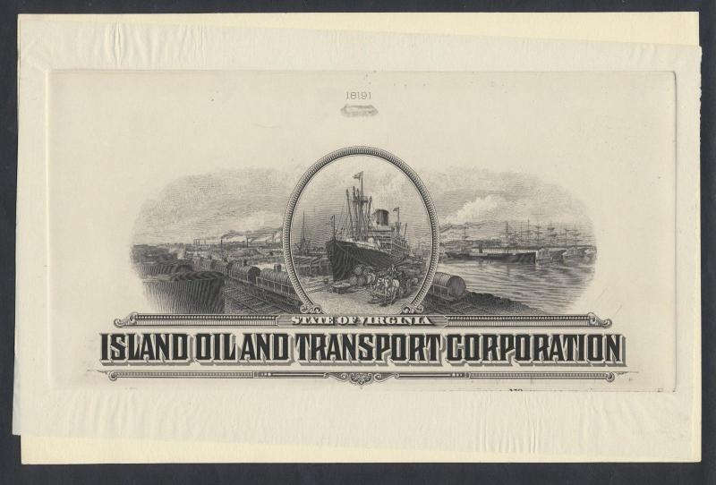 ISLAND OIL & TRANSPORTATION CORP DIE PROOF ON INDIA SUNK ON CARD PL#18191 BR1118