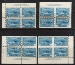 Canada #262 Very Fine Never Hinged Plate Block Match Set