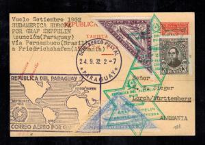 1932 Paraguay Graf Zeppelin Postcard Cover to Lorch Germany LZ 127 Star of David
