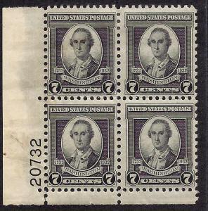 712 Mint,OG,HR... Plate Block of 4... SCV $8.50