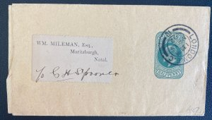 1902 London England Stationery Wrapper Cover To Maritzburgh South Africa