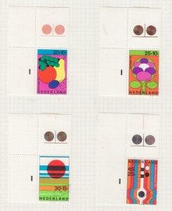 NETHERLANDS, 1972 Social Welfare Funds set of 4, corner, used.