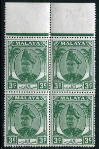 MALAYA (SELANGOR)-1943 3c Green Sg 92 UNMOUNTED MINT V21439