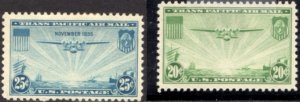 US Scott #C20-21 - TRANSPACIFIC ISSUES 1934 - Perf 10.5x11 FLAT PLATE CV~$13+