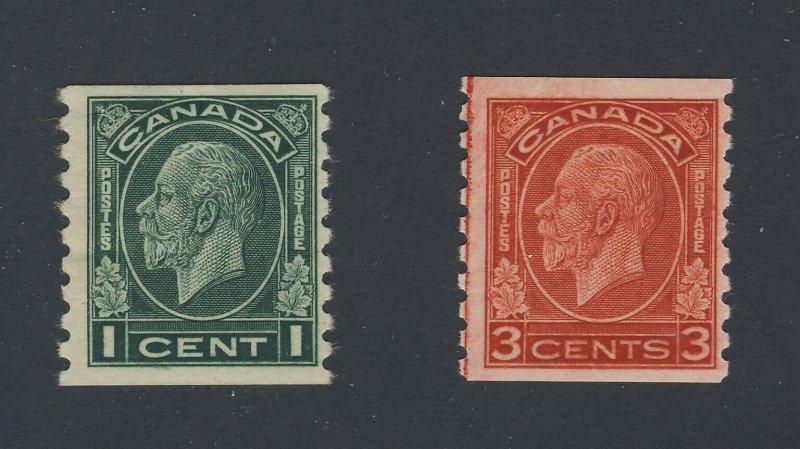 2x Canada Coil Stamps #205-MH Fine & #207i-3c Single MH F Guide Value = $50.00