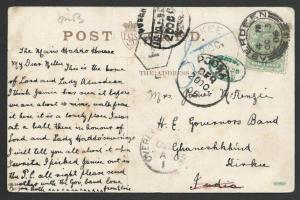GB TO INDIA 1906 postcard, various tax marks inc. OVERLAND POSTAGE DUE.....50319
