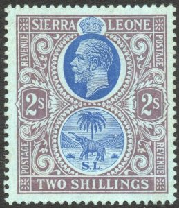 SIERRA LEONE-1912-21 2/- Blue & Purple/Blue Sg 125 MOUNTED MINT V42936