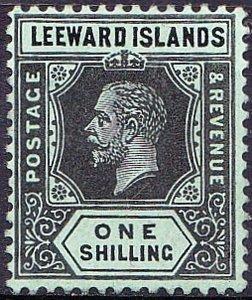 LEEWARD ISLANDS 1923 1/- Black/Emerald SG73 MH