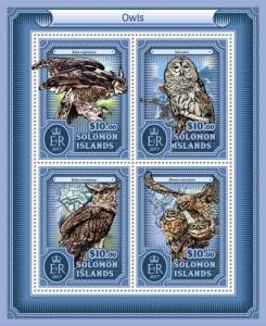 SOLOMON ISLANDS - 2017 - Owls - Perf 4v Sheet - MNH