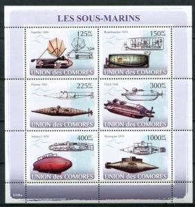 COMORO ISLANDS 2008 SUBMARINES MINT SET AND SOUVENIR SHEET - $29.50 VALUE!