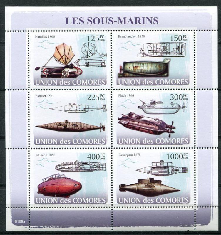 COMORO ISLANDS 2008 SUBMARINES MINT SET AND SOUVENIR SHEET - $29.50 VALUE!
