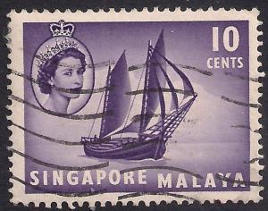Singapore 1955 - 59 QE2 10ct Timber Tongkong SG 44  ( D1207 )