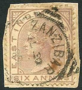 Zanzibar SGZ60 6a Pale Brown Z5 Squared Circle dated 30th July 1889
