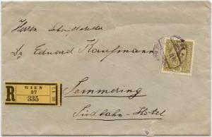 Austria Registered Cover Wien Label Probably 1917 - Fine Est. $15.+