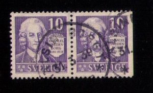 SWEDEN Sc 264/264a Pair Used (Facit #259CB) (1938) EMANUEL SWEDENBORG VF/XF