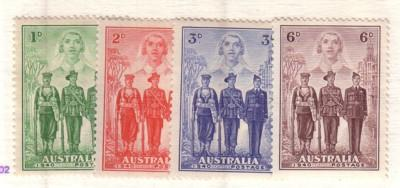 Australia Sc 184-87 1940 Nurse, Sailor, Soldier, Aviator stamp set mint