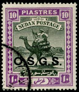 SUDAN SGO4, 10p black & mauve, FINE USED. Cat £26.