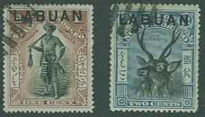Labuan SC#72A, 73 Chieftan & Sambar, 1c, 2c, Used