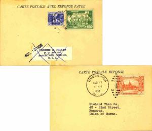 Burma 5p Bell and 10p Rice Planting 1956 Rangoon, Sorting Postcard Attached R...